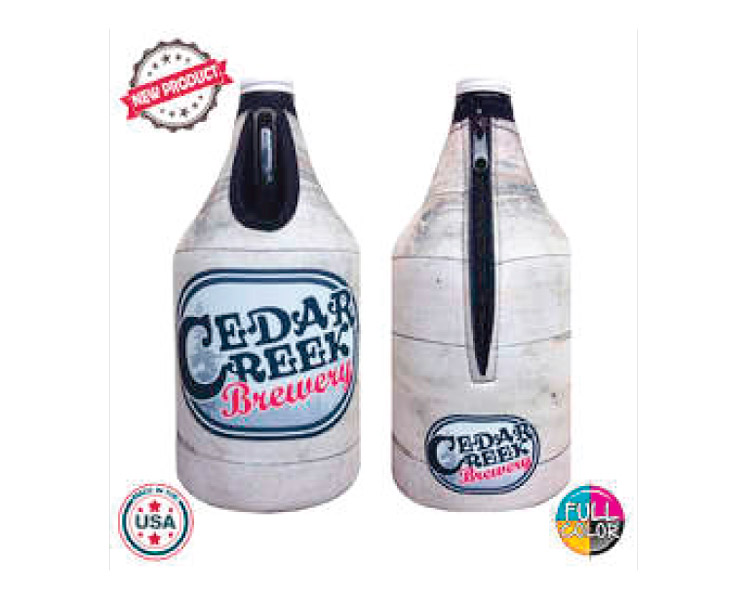 custom beer and brewery misc merch for craft breweries - JIT54FC Premium Full Color Dye Sublimation Foam 64oz Growler Bottle Zipper Insulator